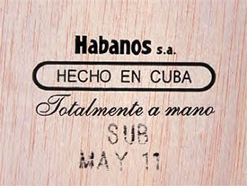 Cuban Habanos Box stamps