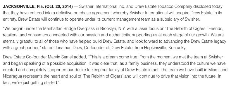 Drew Estate Swisher Sweet Press Release