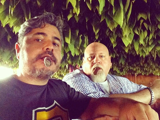 Steve Saka cigars with tobacco grower Guzman