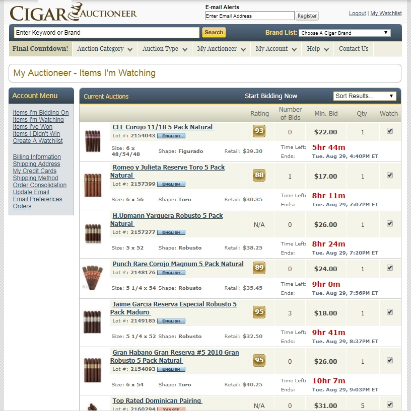 cigar auctions cigarauctioneer My Watchlist
