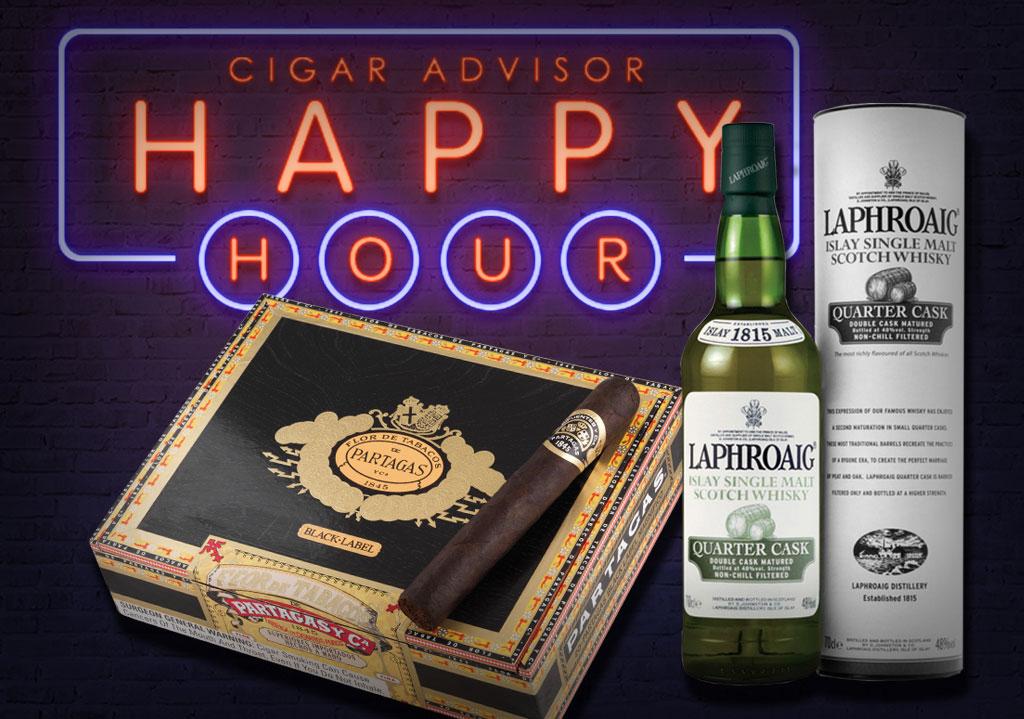 CA Happy Hour: Laphroaig Quarter Cask + Partagas Black Label Cigar Pairing