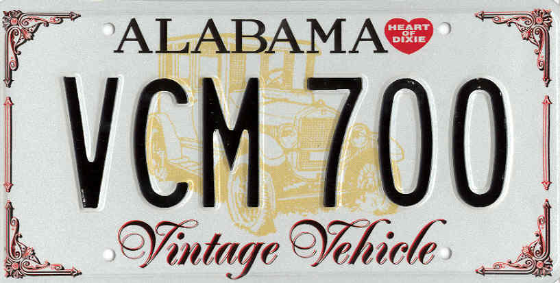 example of Alabama vintage vehicle plate