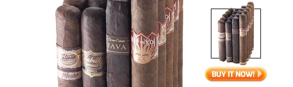 Shop the top 5 best cigar samplers for new cigar smokers - ultimate coffee pairing cigar sampler at Famous Smoke Shop