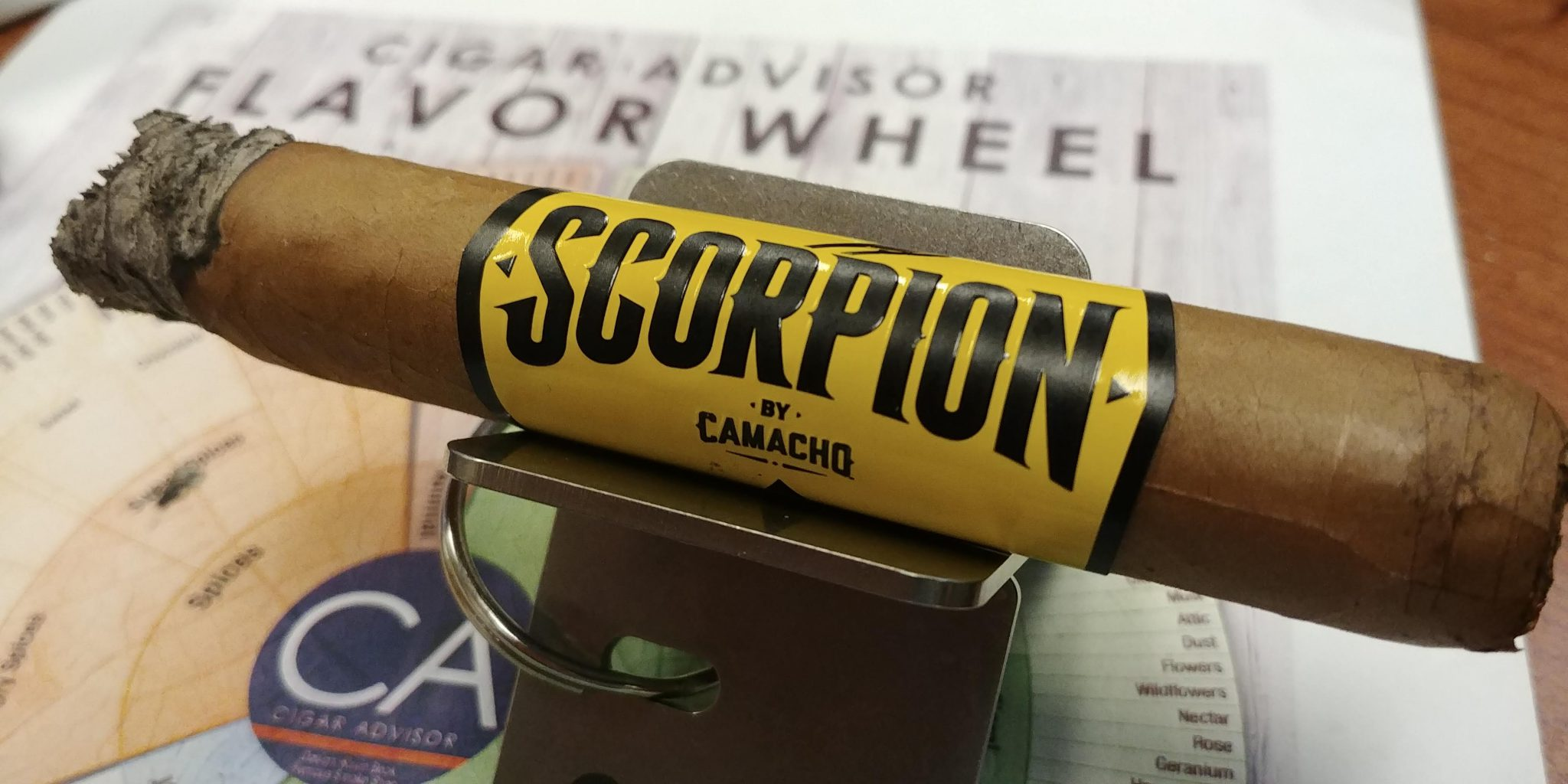 Camacho scorpion connecticut cigar review with cigar flavor wheel at Famous Smoke Shop