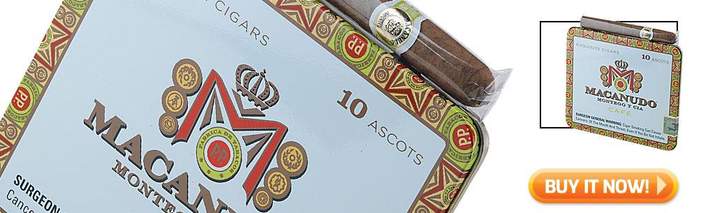 Top Ten Cigarillo and Small Cigar Tins Macanudo Café Ascot cigars in tins at Famous Smoke Shop
