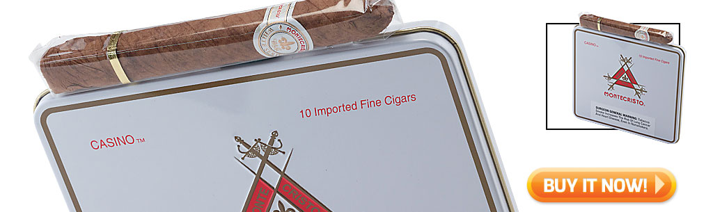 Top Ten Cigarillo and Small Cigar Tins Montecristo White Casino cigars in tins at Famous Smoke Shop