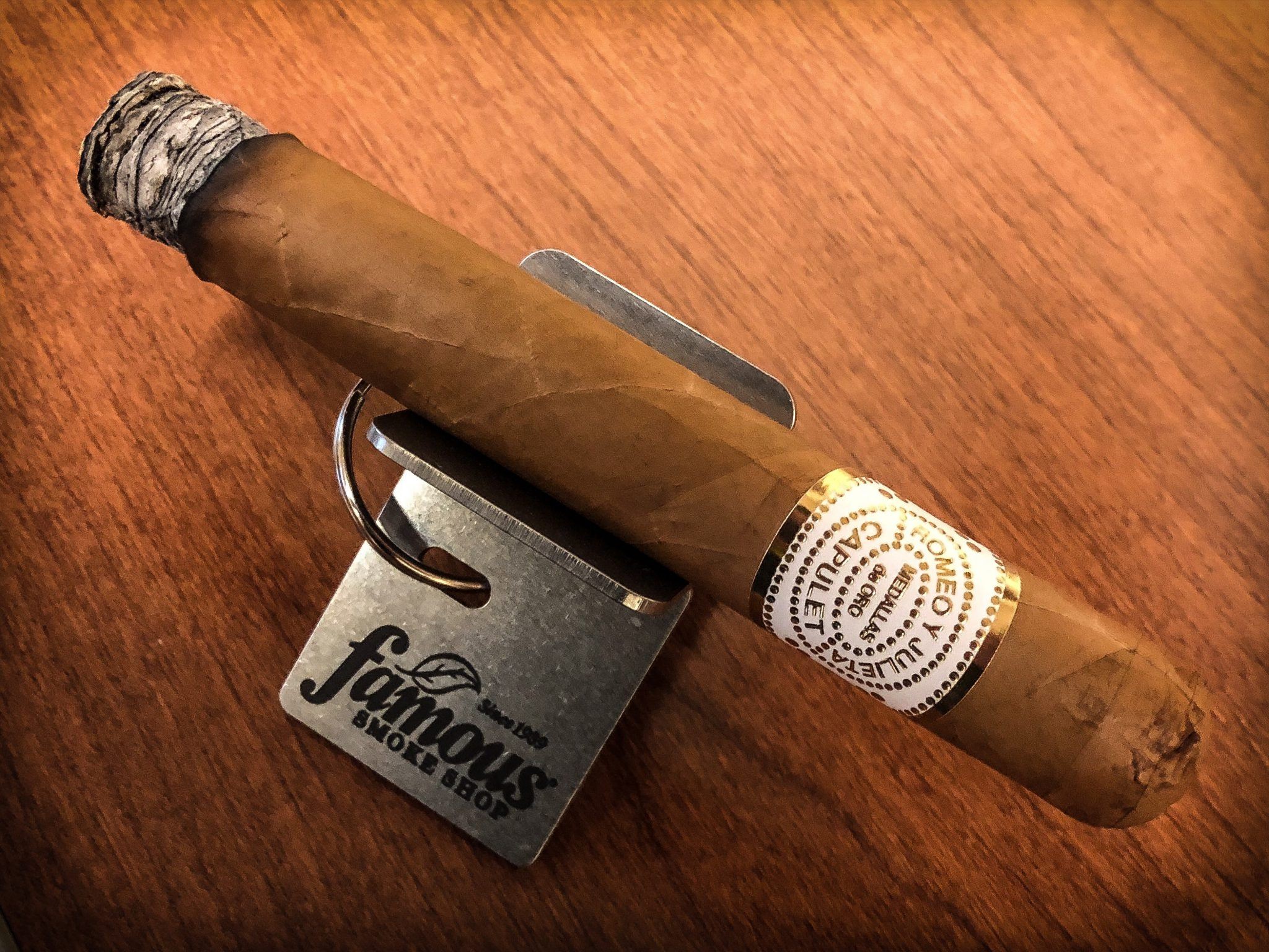 Romeo y Julieta House of Capulet 80th Anniversary cigar review video Toro on cigar stand cigar being smoked