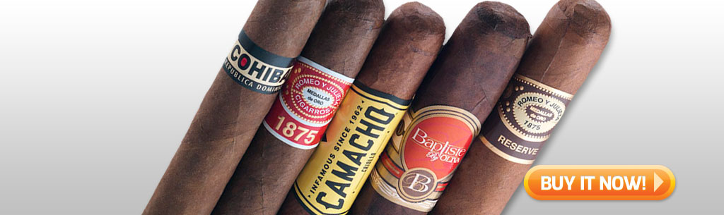 Father's Day Cigar Gift Ideas for Dad Under 100 Under 25 Bomb diggity 5 cigar sampler at Famous Smoke Shop