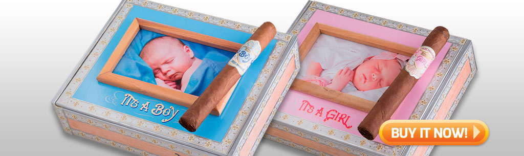 Father's Day Cigar Gift Ideas for Dad Under 100 Under 75 Alec Bradley new baby cigars its a boy cigars its a girl cigars at Famous Smoke Shop