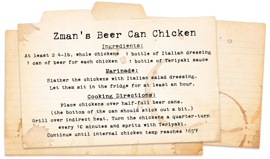 best cigars for manning the grill - beer can chicken recipe card