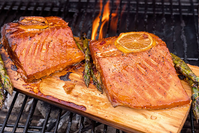 best cigars for manning the grill cedar plank Salmon on the grill cooking