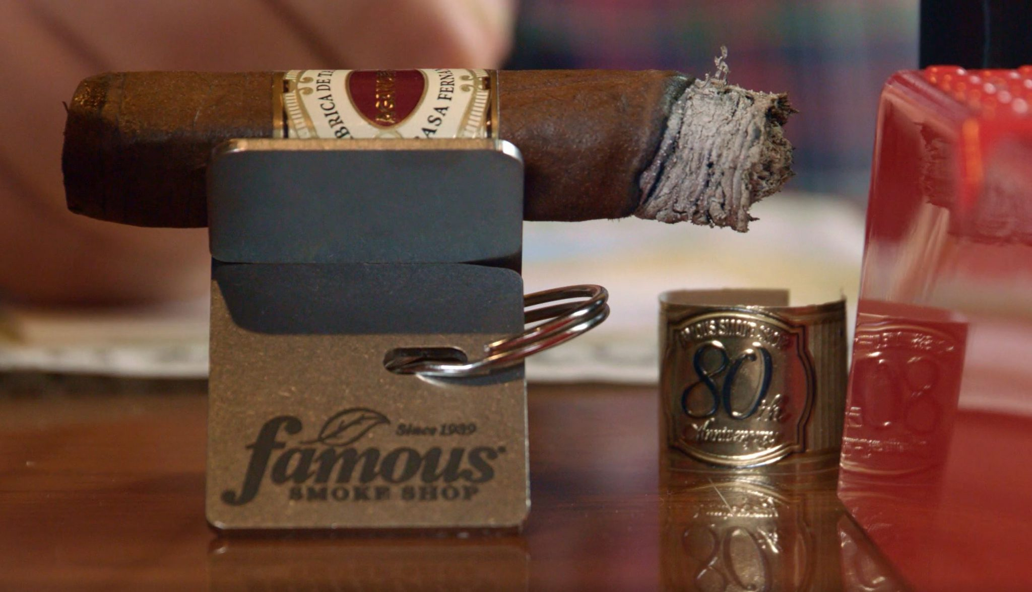 Aganorsa Leaf Famous 80th Anniversary Cigar Review at Famous Smoke Shop Tommy Zman smoking