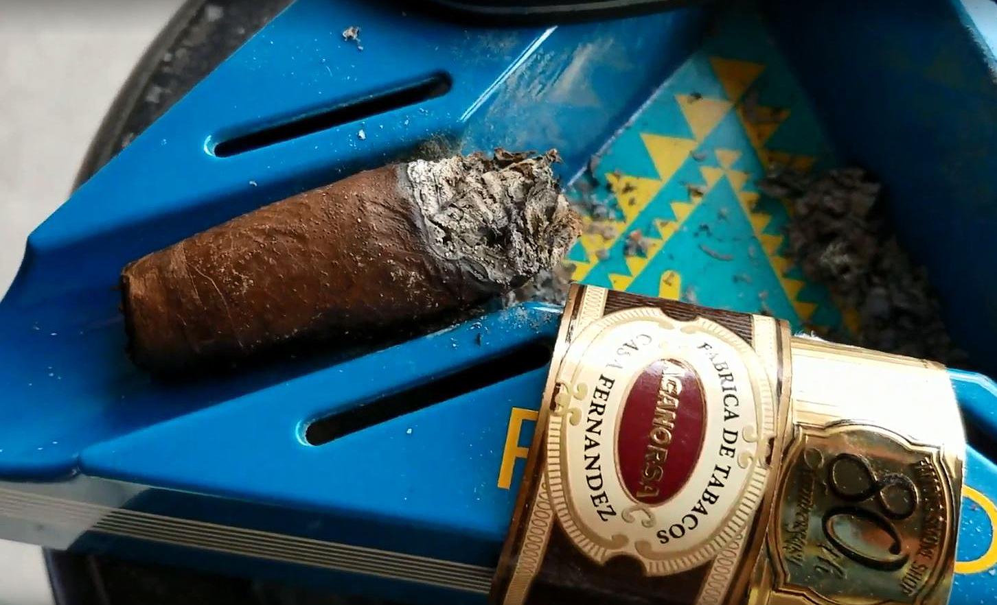 nowsmoking Aganorsa Leaf Famous Smoke Shop 80th Anniversary Toro cigar review by Gary Korb nub