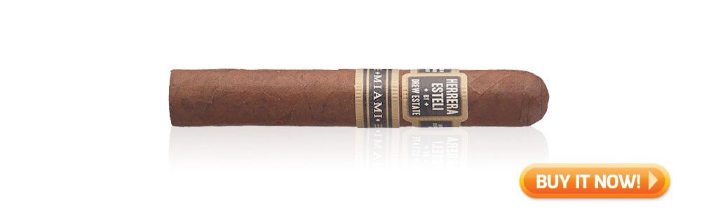 nowsmoking herrera esteli miami cigar review robusto grande at Famous Smoke Shop