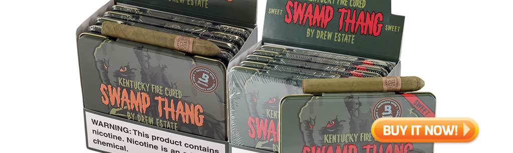 top new cigars may 27 2019 drew estate kentucky fire cured swamp thang cigarillo cigars in tins at Famous Smoke Shop