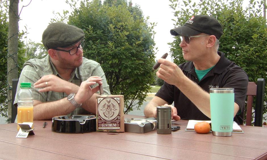 Gary and Jared smoking Southern Draw Kudzu LUSTRUM 5 Year Anniversary Belicoso Fino