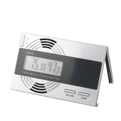 Digital Flat Hygro/Thermometer Silver This space-saving digital hygrometer will help keep your humidor at the 'ideal' 70/70. The digital readout is more accurate than analog devices and gives you both humidity & temp in min. & max. readouts. A 'must have' for anyone who wants to keep their cigars in top shape. Battery included.