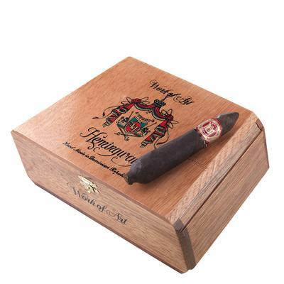 Arturo Fuente Hemingway Work Of Art Hemingway Maduro cigars are among the most highly-sought cigars in production. At over 4 7/8 x 56, the Work of Art vitola truly lives up to its billing, using only the finest vintage Dominican longfillers finished in toothy Broadleaf wrappers. Mild to medium-bodied, and near-impossible to get!
