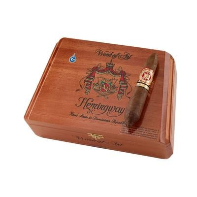 Arturo Fuente Hemingway Work Of Art Call it the big brother to the Fuente Short Story. Meticulously rolled in a sweet-tasting African Cameroon wrapper, the Hemingway Work of Art cigar boasts a longer/wider figurado shape for an even richer-tasting smoke with Hemingway's renowned mellow flavor profile. Add some to your cart now.