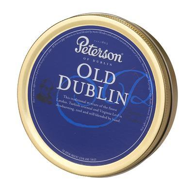 Peterson Old Dublin Peterson's Old Dublin pipe tobacco exudes an exotic mild to medium body, a sweetly smoky Scottish blend of fine Turkish tobacco paired with an exquisite mix of Virginias and Black Cavendish - and a very aromatic Mediterranean Basma. Totally worth a tin buy today!