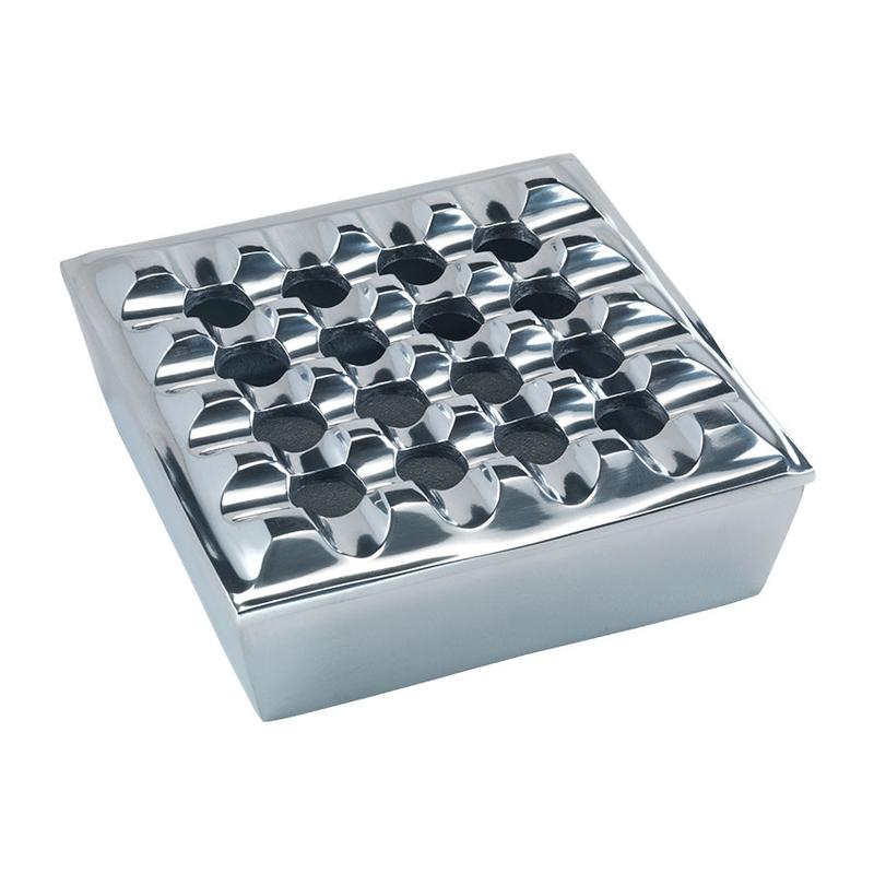 Famous Quality Imports Polished Metal Grid Ashtray