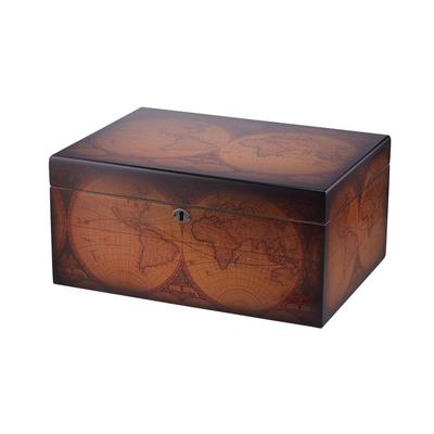 Old World Humidor A distressed antique finish with a mid-century world map highlights this fine cigar humidor that holds up to 100 cigars. Thick Spanish cedar walls, a humidifier, brass analog hygrometer, top tray, and lock & key are included. The lid is supported by quadrant hinges for extra stability. A great buy.