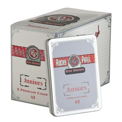 Rocky Patel Sun Grown Juniors (10/5) Rocky Patel Sun Grown Juniors capture all the robust flavor of the full-size blend in a small cigar. Handmade with 7-yr-aged Dominican & Nicaraguan tobaccos wrapped in 5-yr-aged Ecuadorian Rosado wrappers, the smoke is smooth, well-balanced and zesty. Perfect for the ride home. 50 cigars in all!