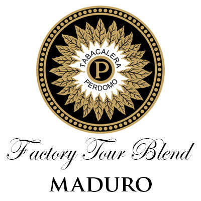 Perdomo Factory Tour Blend Maduro Churchill Logo