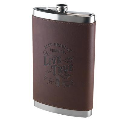 Alec Bradley Live True 64 Ounce Leather Wrapped Flask
