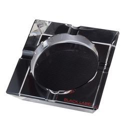 Black Label 4 Cigar Crystal Ashtray Carbon Mesh Graphics - AT-LTS-LBLASH2 - 400
