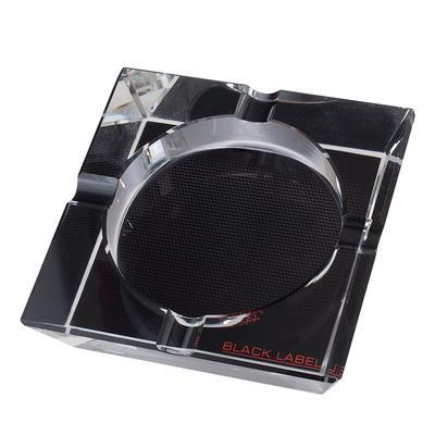 Black Label 4 Cigar Crystal Ashtray Carbon Mesh Graphics-AT-LTS-LBLASH2 - 400