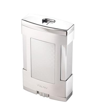 Table Top Basket Weave Silver Triple Flame Lighter
